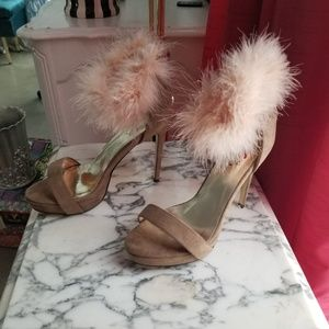 Nude fur ankle heel